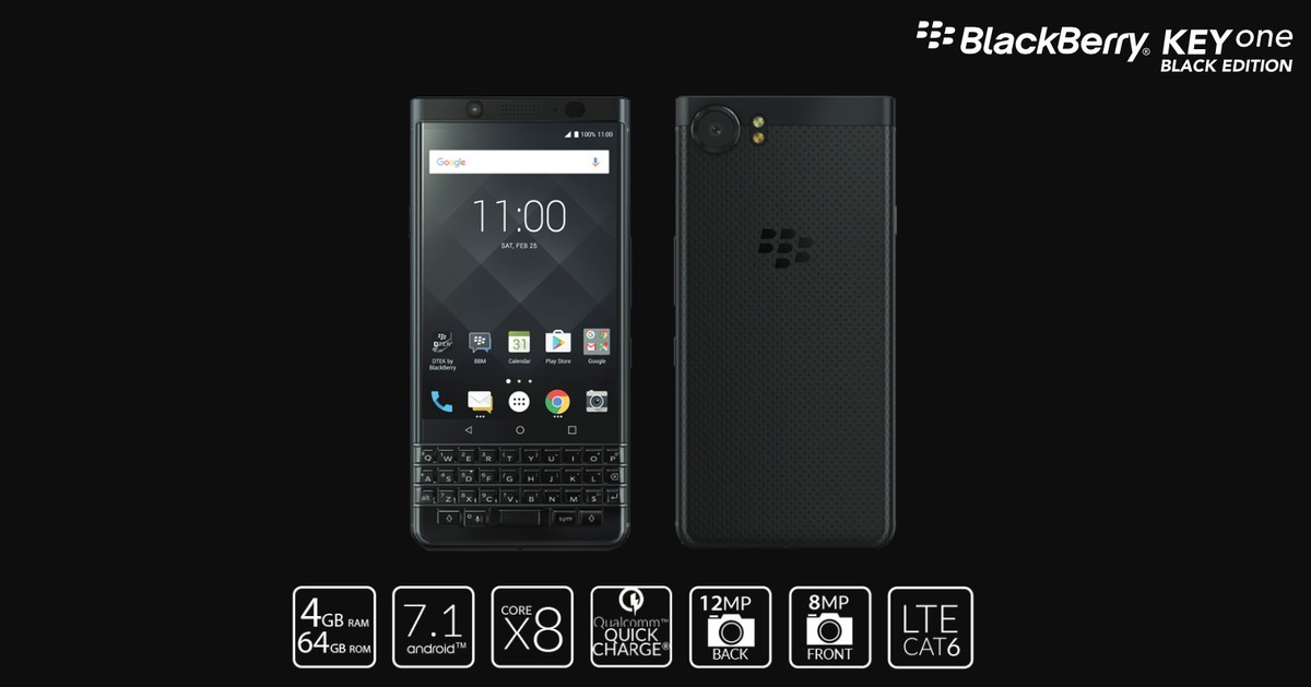 Video Black Edition BlackBerry KEYone Android Auto Compatible